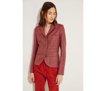 Karierter Woll-Blazer Rot/Rosé 75% Hanf - 25% Merinowolle Futter: -