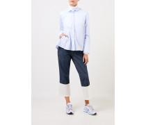 Ausgestellte Bluse mit Streifen Hellblau