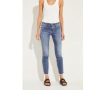 Jeans 'Liu' mit ausgefransten Saumkanten Blau
