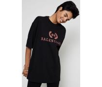 Oversized T-Shirt mit frontalem Aufdruck Schwarz - 100% Baumwolle