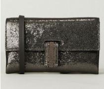Mini-Leder-Tasche mit glänzender Optik Silber - Leder