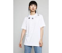 T-Shirt mit Sternverzierung Weiß - 100% Baumwolle
