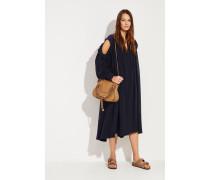 Seiden-Kleid mit Rüschen Marineblau