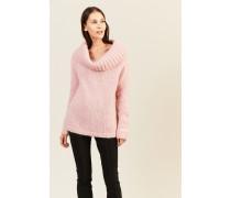 Mohair-Woll-Pullover mit breitem Kragen Rosé