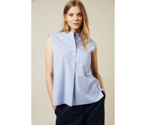 Ärmellose Baumwoll-Bluse Weiß/Blau - 100% Baumwolle