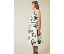 Gemustertes Cocktail-Kleid Black/White - Seide