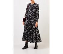 Langes Kleid 'Pip' mit floralem Print Schwarz/Weiß