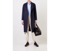 Langer Woll-Cashmere-Mantel Marineblau