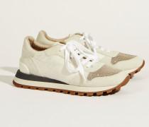 Sneaker mit Perlendetails Weiß