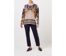 Woll-Seiden-Pullover mit Print Beige/Multi