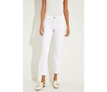 Jeans 'Liu' mit ausgefransten Saumkanten Weiß