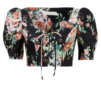 Leinentop 'Bellitude' mit floralem Muster Dunkelblau