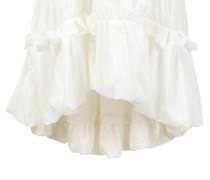 Kurzes Baumwoll-Seiden-Kleid Weiß