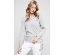 Baumwoll-Pullover mit Bindeelement Grau - 100% Baumwolle