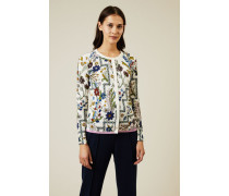 Baumwoll-Strickjacke mit floralem Print Multi - 100% Baumwolle