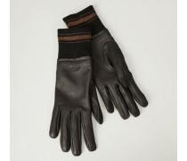 Lederhandschuhe mit Strickeinsatz Braun/Grau - Leder