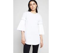 Gestreifte Bluse mit Ärmel-Details Weiß/Blau - 100% Baumwolle