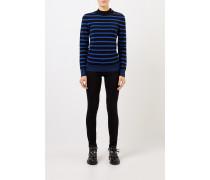 Gestreifter Woll-Pullover mit Knopf-Detail Schwarz/Blau