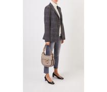 Karierter Woll-Blazer mit Perlenverzierung Grau/Multi