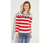 Woll-Pullover mit Muster Multi