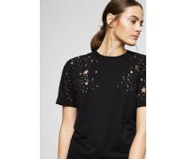 T-Shirt mit Ausbrenner Stern-Motiv Schwarz