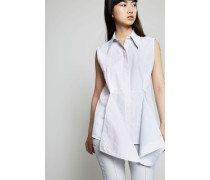 Bluse mit frontaler Applikation Blau/Multi - Seide