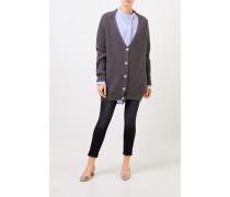 Langer Woll-Cardigan mit Reißverschlüssen Grau