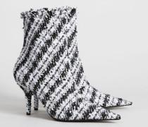 Spitze Tweed-Stiefelette Schwarz/Weiß - Leder