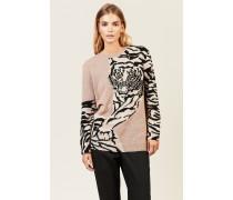 Cashmere-Pullover mit Tigermuster Nude/Schwarz
