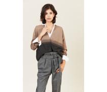 Cashmere-Cardigan mit Perlenverzierung Beige/Grau