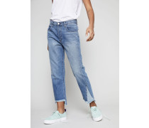 High-Rise Jeans 'Hydra' mit Fransen am Saum Blau
