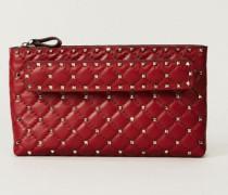 Clutch 'Spikes' mit Nietenbesatz Rot - Leder