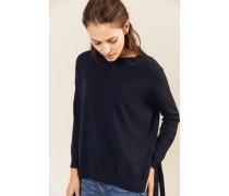 Cashmere-Pullover mit Binde-Details Marineblau