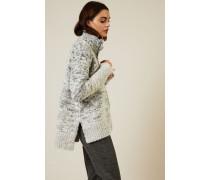 Woll-Seiden-Cardigan mit Reißverschlussdetails Grau - Cashmere