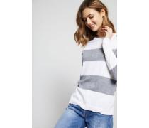 Gestreifter Baumwoll-Cashmere-Pullover Grau/Weiß - Cashmere