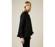 Baumwoll-Bluse mit Rüschendetails Schwarz - 100% Baumwolle