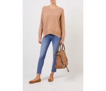 Cashmere-Pullover mit geschlitztem Saum Camel