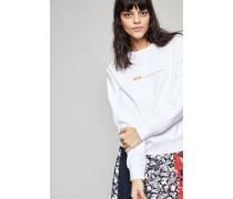 Sweatshirt 'Flora' mit Aufdruck Bright White - 100% Baumwolle
