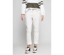Gerade Jeans mit Beinumschlag in hellem Ivory - 100% Baumwolle
