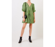 Kariertes Kleid mit V-Neck Grün/Schwarz
