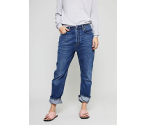 Jeans 'Log' mit Knopfverschluss Mid Blue - 100% Baumwolle