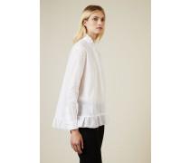 Baumwoll-Bluse mit Rüschendetails Weiß - 100% Baumwolle