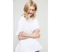 T-Shirt mit Rüschensaum Weiß
