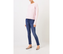 Cashmere-Pullover mit Zopfmuster Rosé