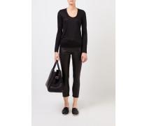 Leder-Hose mit Reißverschlüssen Schwarz