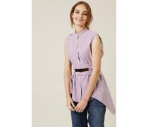 Gestreifte Baumwoll-Bluse mit Gürtel Violett/Weiß - Leder