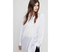 Gestreifte Bluse mit seitlicher Knopfleiste Weiß/Blau