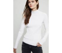 Gerippter Turtle-Neck Pullover Weiß - Cashmere