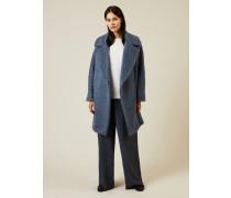 Oversize Woll-Mantel Blau - Cashmere