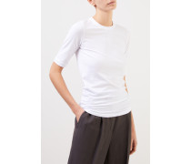 Baumwoll-T-Shirt mit Perlenverzierung Weiß